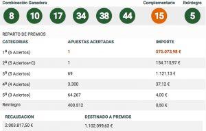 Resultados Bonoloto Sorteo 186